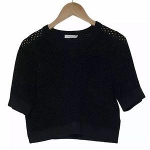 A.L.C Crew Neck Net Mesh Sweater Crop Size L